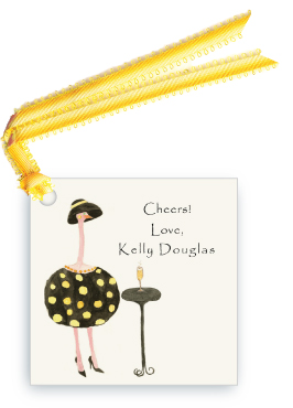 Gold Ostrich - Dottie with Cocktail - Gift Tags