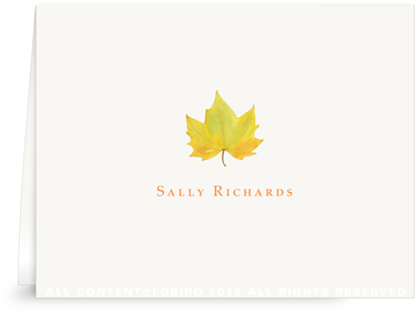 Yellow Autumn Leaf - Folded Note Cards