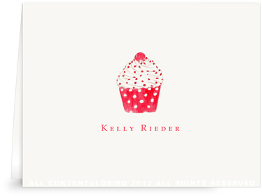 Cupcake-Red Polka Dot - Folded Note Cards