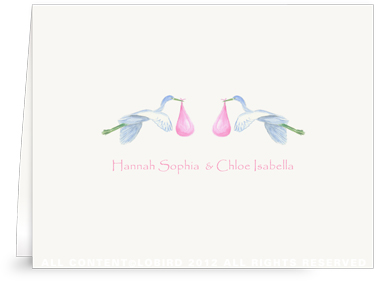 Twin Flying Pink Storks - Folded Note Cards