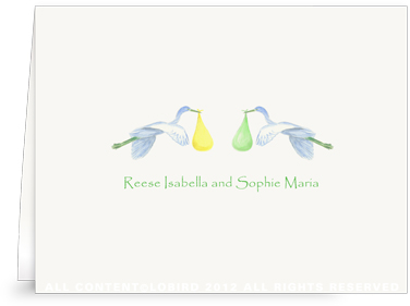 Twin Flying Yellow & Green Storks - Folded Note Cards