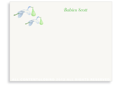 Twin Flying Green Storks - Folded Note Cards