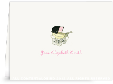 Vintage Baby Carriage Pink - Folded Note Cards