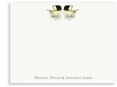 Vintage Twin Baby Carriage Yellow - Flat Note Cards