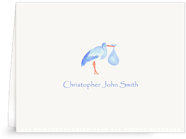 Blue Stork Standing - Folded Note Cards
