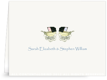 Vintage Twin Baby Carriage Pink & Blue - Folded Note Cards