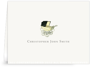 Vintage Baby Carriage Yellow - Folded Note Cards
