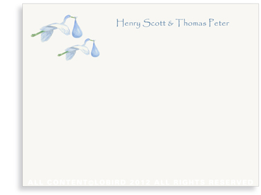 Twins-Flying Blue Storks - Flat Note cards
