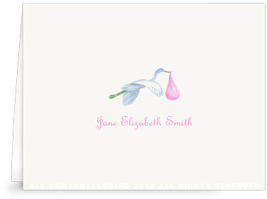 Flying Pink Stork - Folded Note Cards