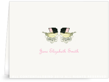 Vintage Twin Baby Carriage Pink - Folded Note Cards
