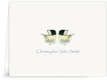 Vintage Twin Baby Carriage Blue -Folded Note Cards
