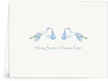 Twin Flying Blue Storks - Folded Note Cards