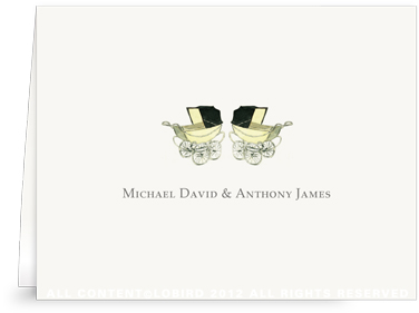 Vintage Twin Baby Carriage Yellow - Folded Note Cards