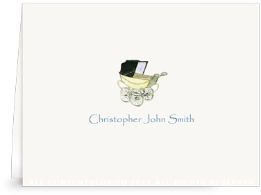 Vintage Baby Carriage Blue - Folded Note Cards