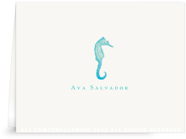 Seahorse - Turquoise - Folded Note Cards