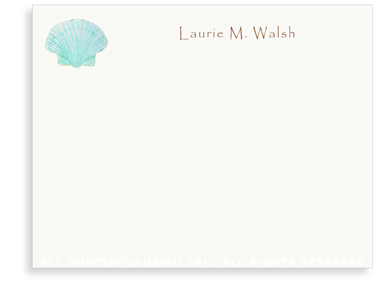 Aqua Green Scallop Sea Shell - Flat Note Cards