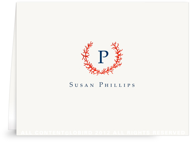 Coral Crest Monogram - Folded Note Cards