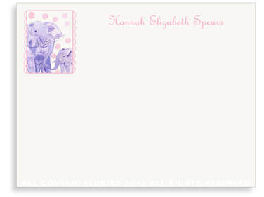 Elephant Mother & Child - Flat Note cards