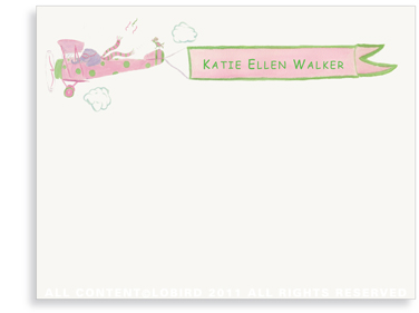 Elephant Flying Plane - Flat Note cards