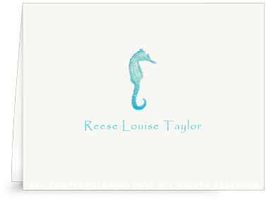 Seahorse kids - Turquoise - Folded Note Cards
