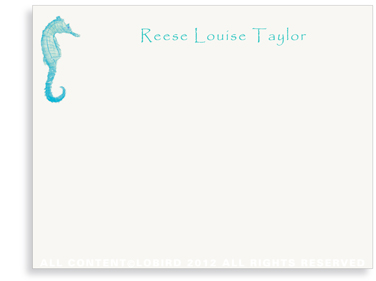 Seahorse kids- Turquoise- flat Note Cards