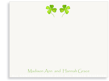 Twin 4 Leaf Clover - Flat Note Cards