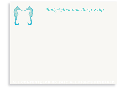 Twin Seahorses - Turquoise - Flat Note Cards