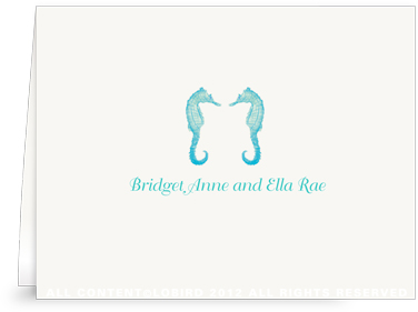 Twin Seahorses - Turquoise - Folded Notes