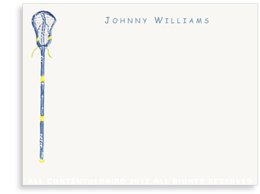 Blue Lacrosse Stick - Flat Note cards