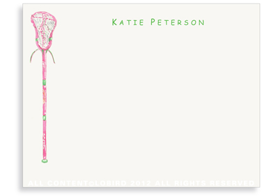 Pink Lacrosse Stick - Flat Note cards