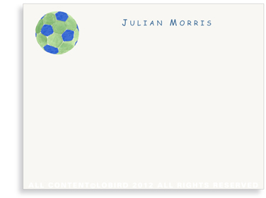 Blue - Green Soccer Ball - Flat Note cards