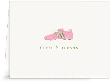 Pink & Green Cleat - Folded Note Cards
