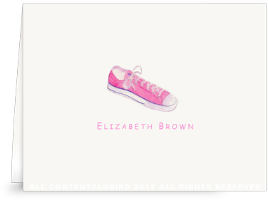 Pink Sneaker - Folded Note Cards