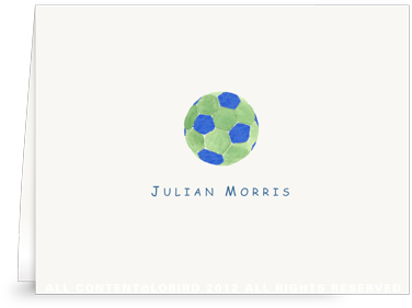 Blue & Green Soccer Ball - Folded Note Cards