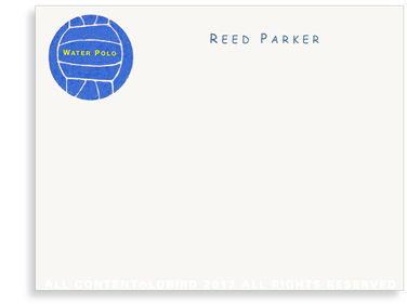 Blue Water Polo Ball - Flat  Note cards