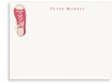 Red Sneaker - Flat Note cards