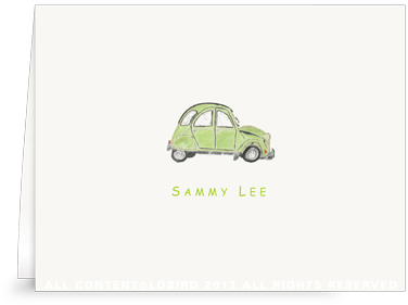 French Village Car - Green - Folded Note Cards