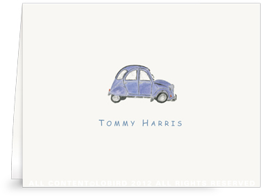 French Village Car - Blue - Folded Note Cards