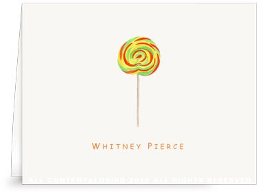 Swirl Lollipop - Green - Orange - Folded Note Cards