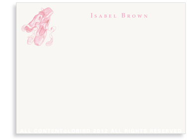 Ballet Slippers - Flat  Note cards