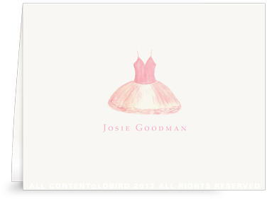 Dusty Pink Tutu - Folded Note Cards