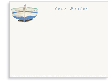 Blue Boat - Kids - Flat Note cards