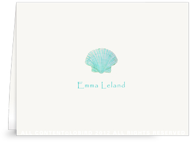 Aqua Green Scallop Sea Shell - Kids - Folded Note Cards