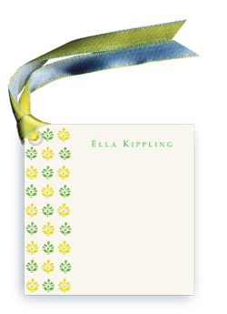 Block Print Gift Tag - green/yellow