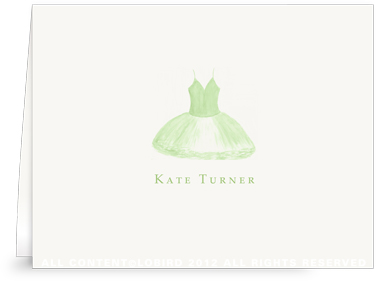 Green Tutu - Folded Note Cards