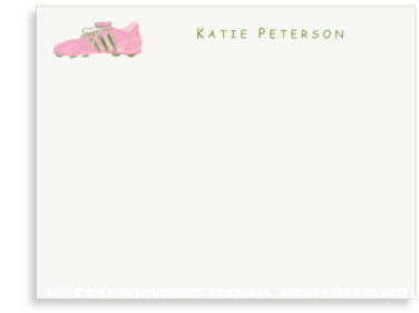 Pink - Green Cleat - Flat Note cards