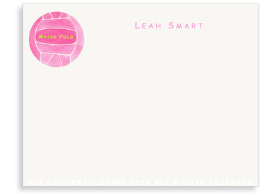 Pink Water Polo Ball - Flat Note cards