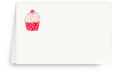 Cupcake - Red Polka Dot - Place cards