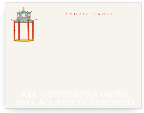 Chinoiserie Pagoda Pavilion - Flat Note cards