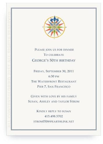 Compass Rose - 16 Point Blue - Invitations